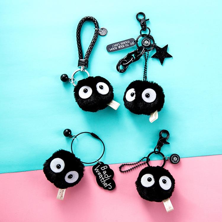 Cute My Neighbor Totoro Black Carbon Elves Keychain Miyazaki Hayao Comic Spirited Away Fairy Dust Key Rings Women Bag Pendant