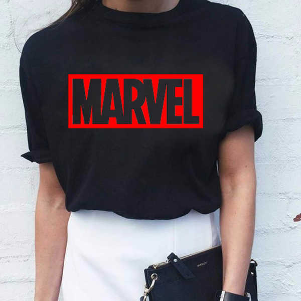 Women Tops T Shirt Marvel Print Short Sleeve Plus Size Tshirt Casual Tees White Tops Streetwear Women Clothes