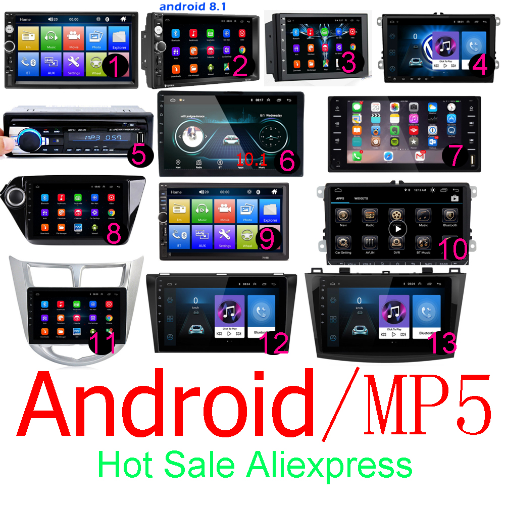 Android 2 Din Car Radio RAM 1GB+ ROM 16GB Android 7'' 2Din Car Radio Autoradio GPS Multimedia Player For Ford VW Golf
