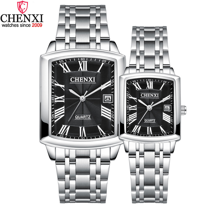 Silver Square Couple Watches Women Men Romantic Elegant Casual Lover's Watch Roman Numeral Stainless Steel Waterproof Gift Clock