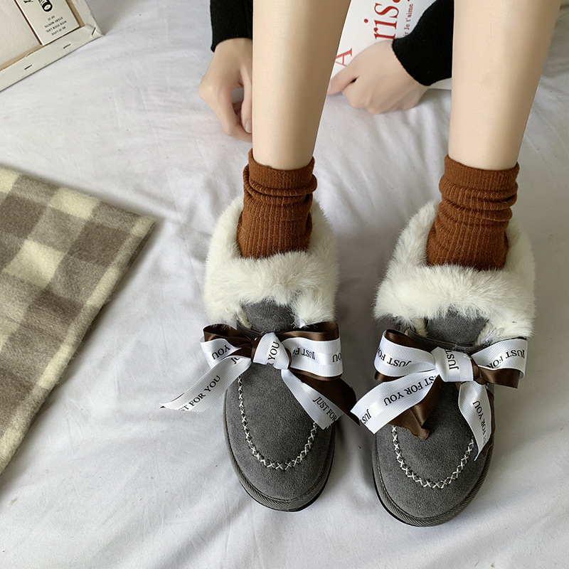 All-in-one snow boots,2019, new style, high-density, warm-keeping, anti-slip cotton shoes, bow and short boots. 35