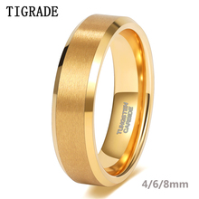 Tigrade Gold Plated Wedding Ring for Women 4/6/8mm Wide Brushed Tungsten Mens ring Luxury Anniversary Jewelry for Couple Gift