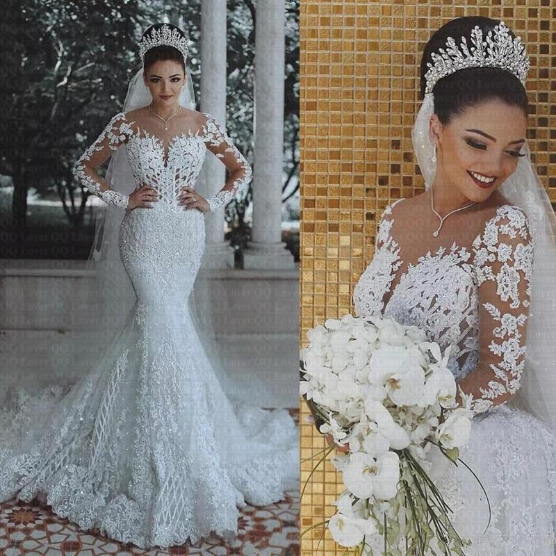 Lace Long Sleeve Wedding Dresses Bridal Wedding Gowns Vestido De Novia Custom