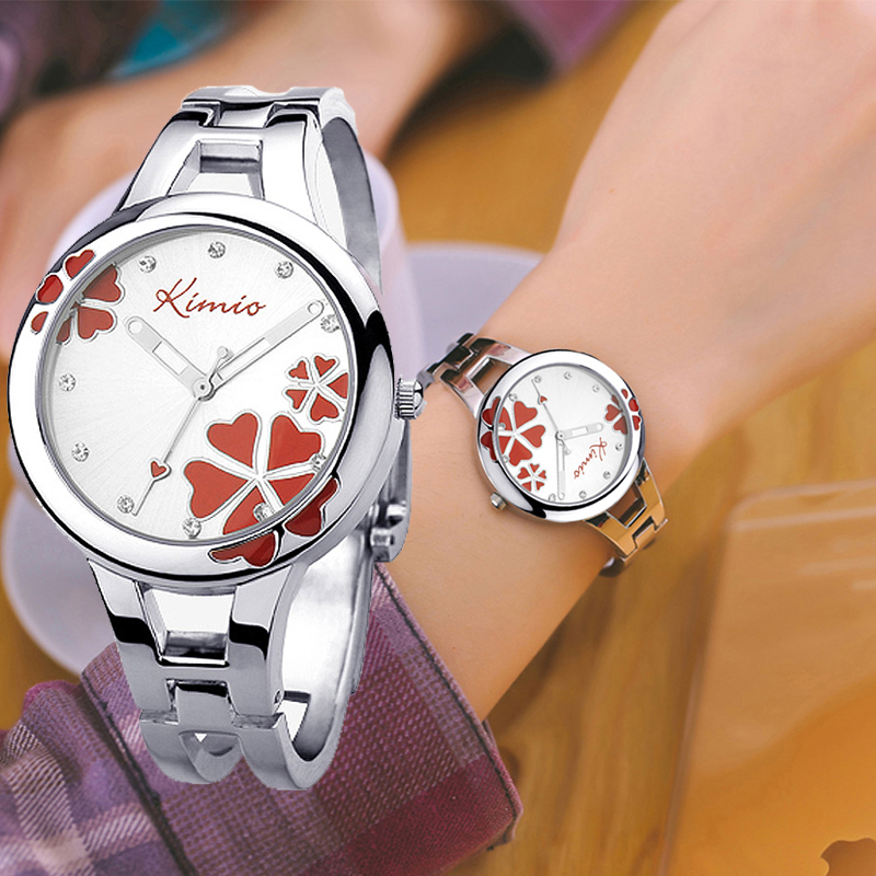 Kimio Brand  Women Bracelet Wristwatch Ladies Quartz Watch Stainless Steel Clover Crystal Female Dress Watches For Woman Clock