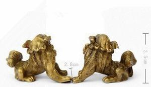 Lucky Chinese Fengshui Pure Brass Guardian Foo Fu Dog Lion Statue Pair AAAAAAAA Free shipping