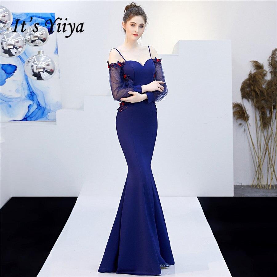 Long Sleeve Evening Dress It's Yiiya DX268 Boat Neck Floor-Length Robe De Soiree Mermaid Illusion Zipper Evening Dresses 2020