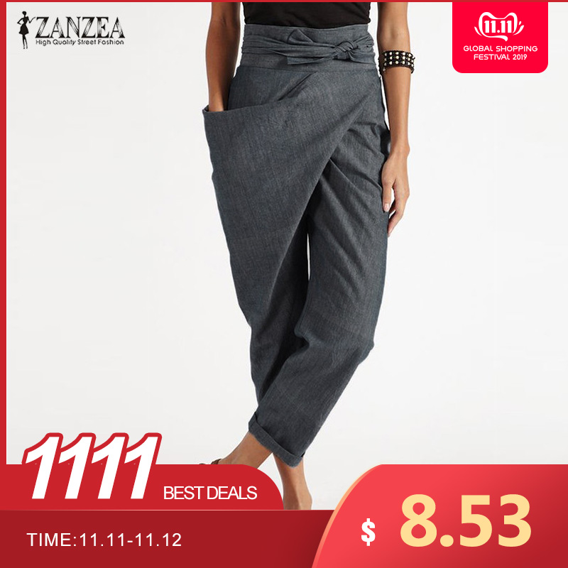 Elegant Pantalon 2019 ZANZEA Casual Long Palazzo Womens Harem Pants Fashion Woman Big Pockets Side Zipper Trousers Plus Size