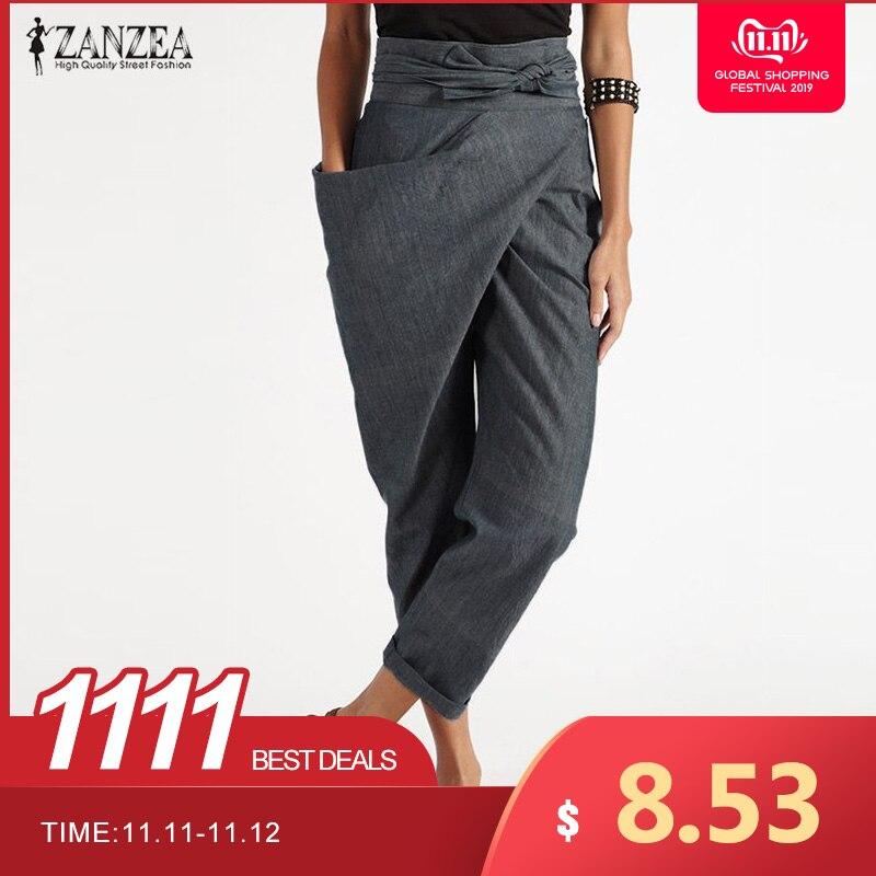 Elegante pantalon 2019 zanzea casual longo palazzo das mulheres harem calças moda mulher grandes bolsos laterais zíper calças mais tamanho