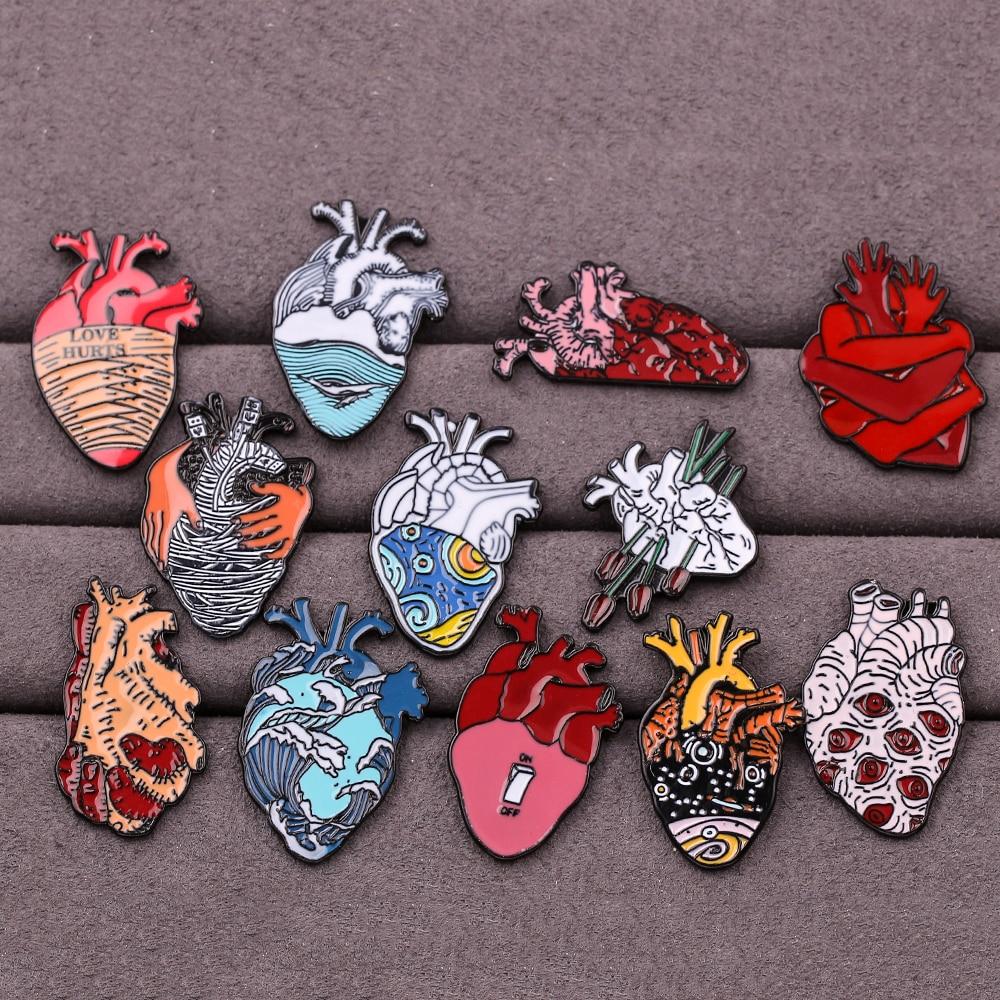 Heart Collection Enamel Pin Van Gogh Starry Night Wave Universe Broken Hug Rose Brooch Bag Lapel Pin Badge Jewelry Gift