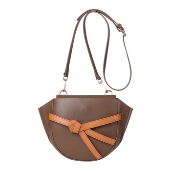 Genuine leather Saddle bags new color matching  leather female bag bow retro semi-circle shoulder bag GN-SB-hdfgby