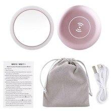 Portable LED Lighted Mini Circular Makeup Mirror Compact Travel Sensing Lighting Cosmetic Wireless USB Charging Make up