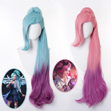 KDA Seraphine Gradient Long Ponytail Wig Cosplay Costume Heat Resistant Synthetic Hair Women Blue Pink Wigs