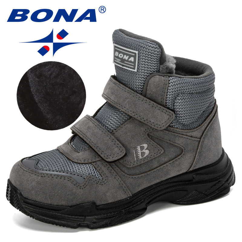 BONA 2019 New Designers Snow Shoes Chilodren Leather Fashion Boys Sneakers Ankle Boots Plush Warm Kids Boots Outdoor Footwear