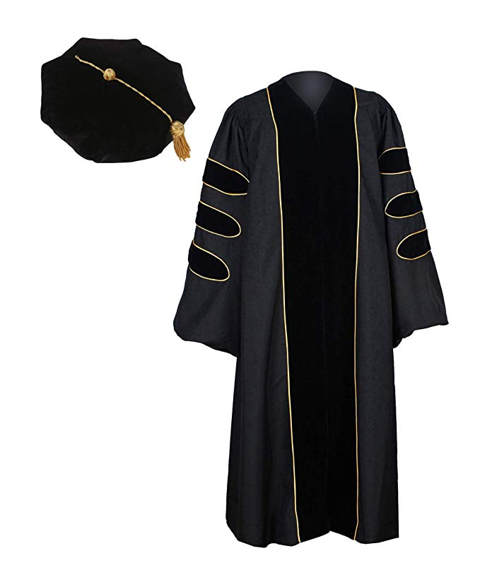 Size Note Unisex Long Sleeve Formal Doctoral Graduation Gown Tassel Cap Set Gold Piping University Principal Uniform Clothes