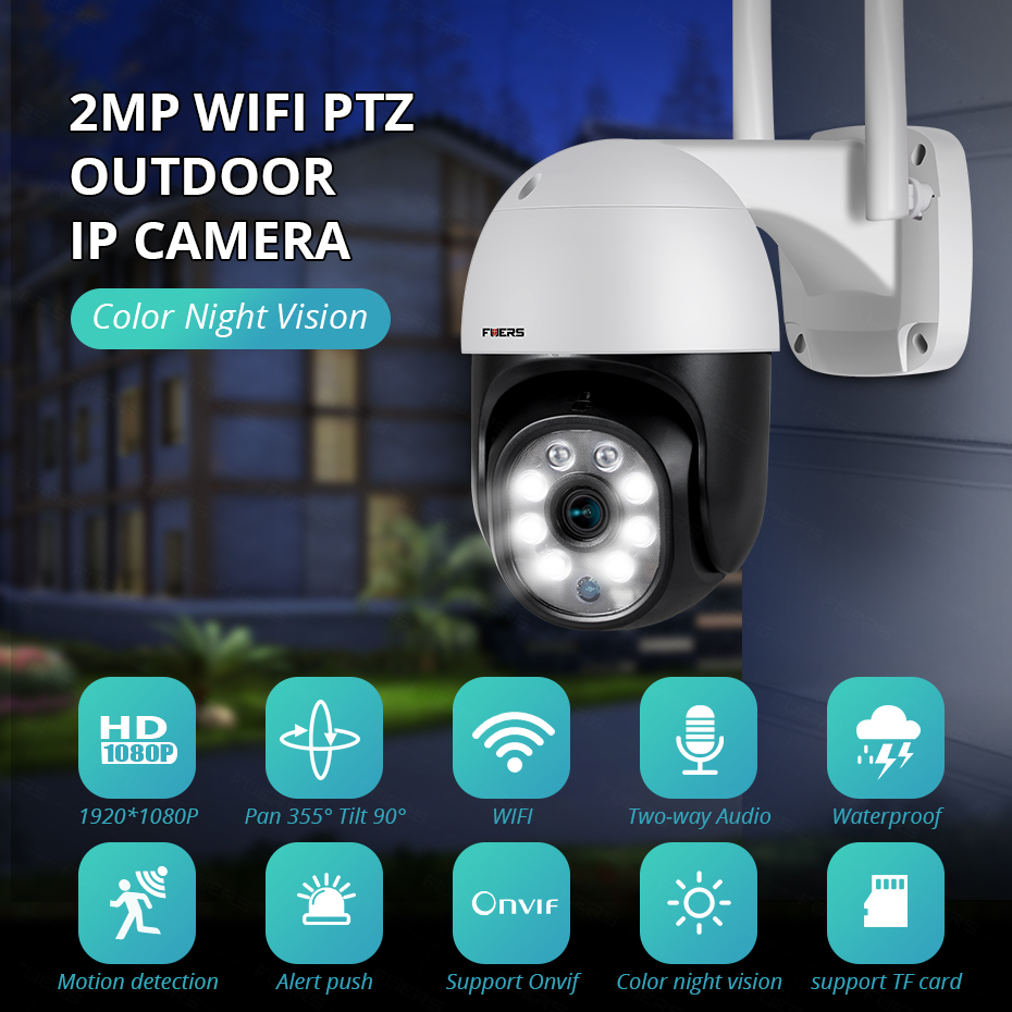 KERUI 1080P Wifi IP Camera Outdoor Wireless Camera Two-way Audio P2P Audio 2MP Security CCTV Camera Infrared Night Vision