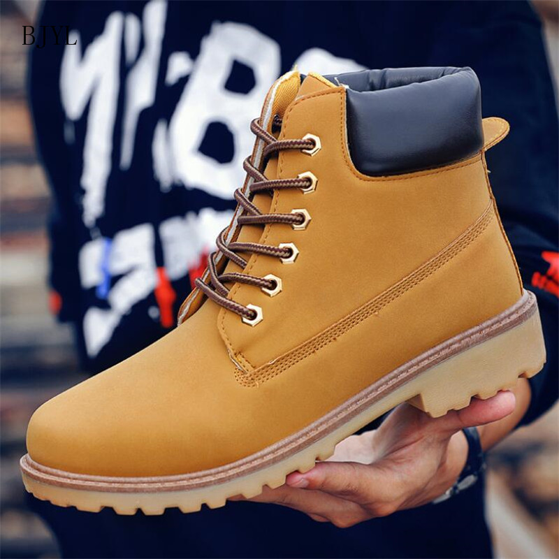 BJYL 2019 Classic Casual Men Boots Autumn Breathable Comfortable Lace-up Couple Ankle Boots Yellow Tooling Boots Men B302
