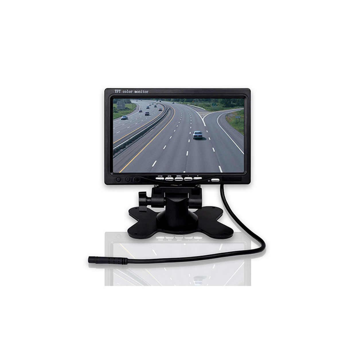 """7 """"TFT-LCD اللون 2 فيديو المدخلات سيارة الرؤية الخلفية 12 فولت مسند الرأس سيارة مراقب 7 بوصة DVD VCR مراقب مع IR تحكم عن بعد و حامل A3"""