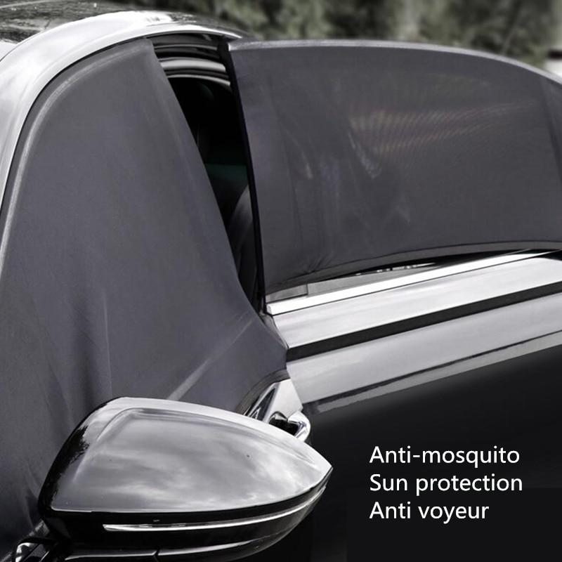Proteção solar para janela lateral automotiva, para-sol, uv, tampa protetora, malha, velcro, acessórios universais para carro, com janelas, podem ser abertas