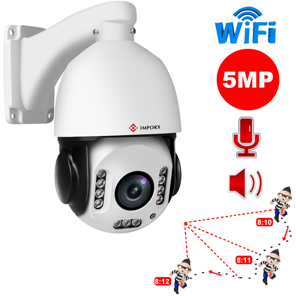 IMPORX 5MP WIFI Auto Tracking IP Camera 20X Optical Zoom Human Tracking High Speed Dome IP Camera 2592 X1944 PTZ Network Cameras