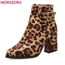 Morazora 2020 mais novo mulheres botas de tornozelo leopardo outono inverno botas zip fivela dedo do pé apontado sapatos de salto alto vestido de formatura senhoras