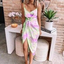 платье 2020 Summer Sexy Beach Tie Dye Dress Irregular Slim Spaghetti Strap