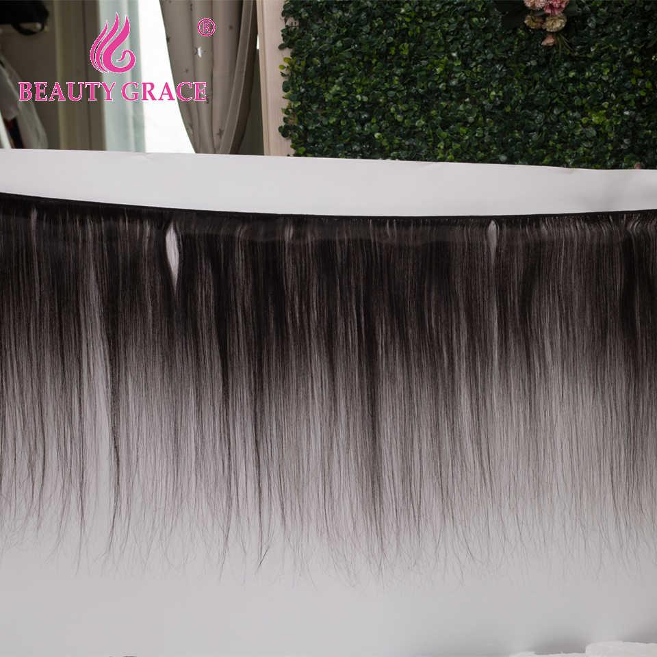 Düz saç demetleri ile frontal brezilyalı insan saçı örgüsü 30 inç demetleri şeffaf hd dantel frontal kapatma olmayan Remy