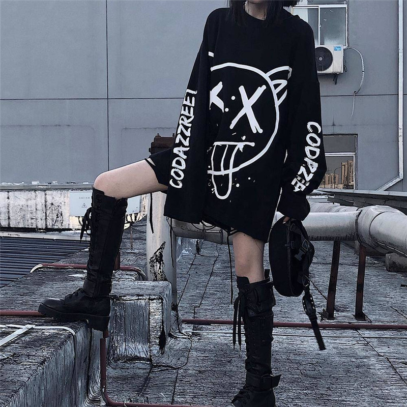 Harajuku Women Tshirts Fashion Oversized Long Sleeve T Shirt Hip Hop Punk Streetwear Girl Tees Black Loose T Shirt Funny Girls