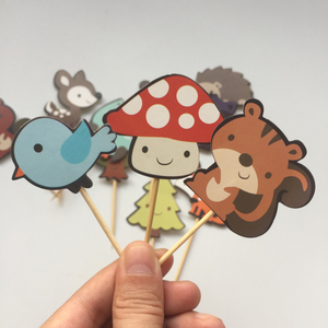 Image 4 - 24pcs Woodland Creatures Cake Toppers Jungle Forest Animal Cupcake Toppers for Kids Birthday Party Decorations Dessert supplies