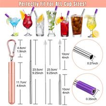 купить Reusable Metal Drinking Straws 304 Stainless Steel Sturdy Bent Straight Drinks Straw With Cleaning Brush Bar Parties Accessories дешево