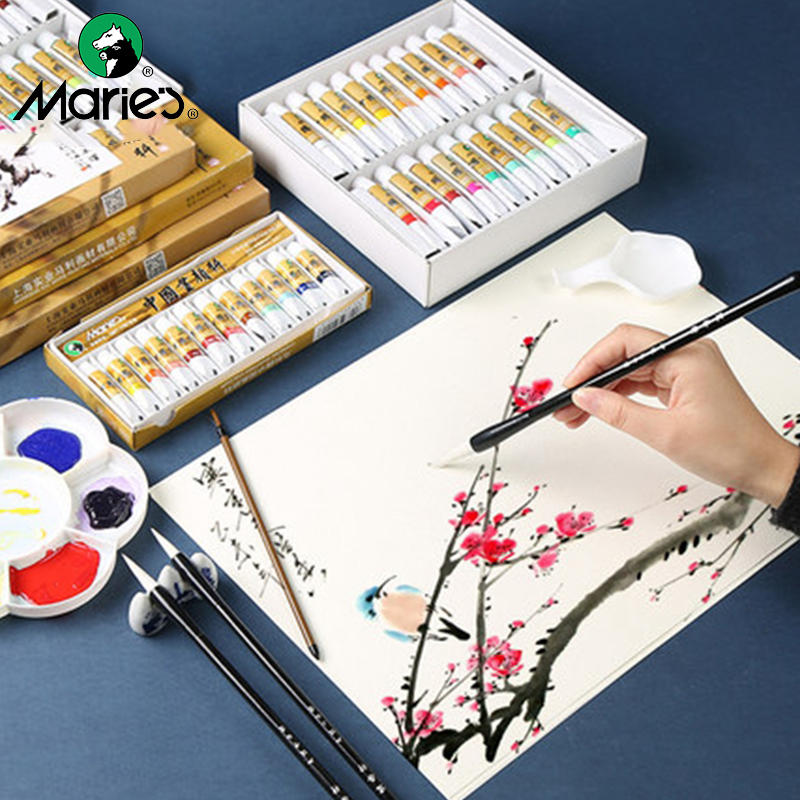 Marie's Chinese Painting Paste Pigment Watercolor Paints 5/12ML 12/18/24/36 Colors Ink Painting Beginners Drawing Art Supplies