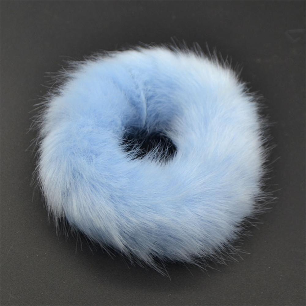 Мягкая Плюшевая повязка для волос резинки для волос натуральный мех кроличья шерсть мягкие эластичные резинки для волос для девочек однотонный цветной хвост резинки для волос для женщин - Цвет: 14