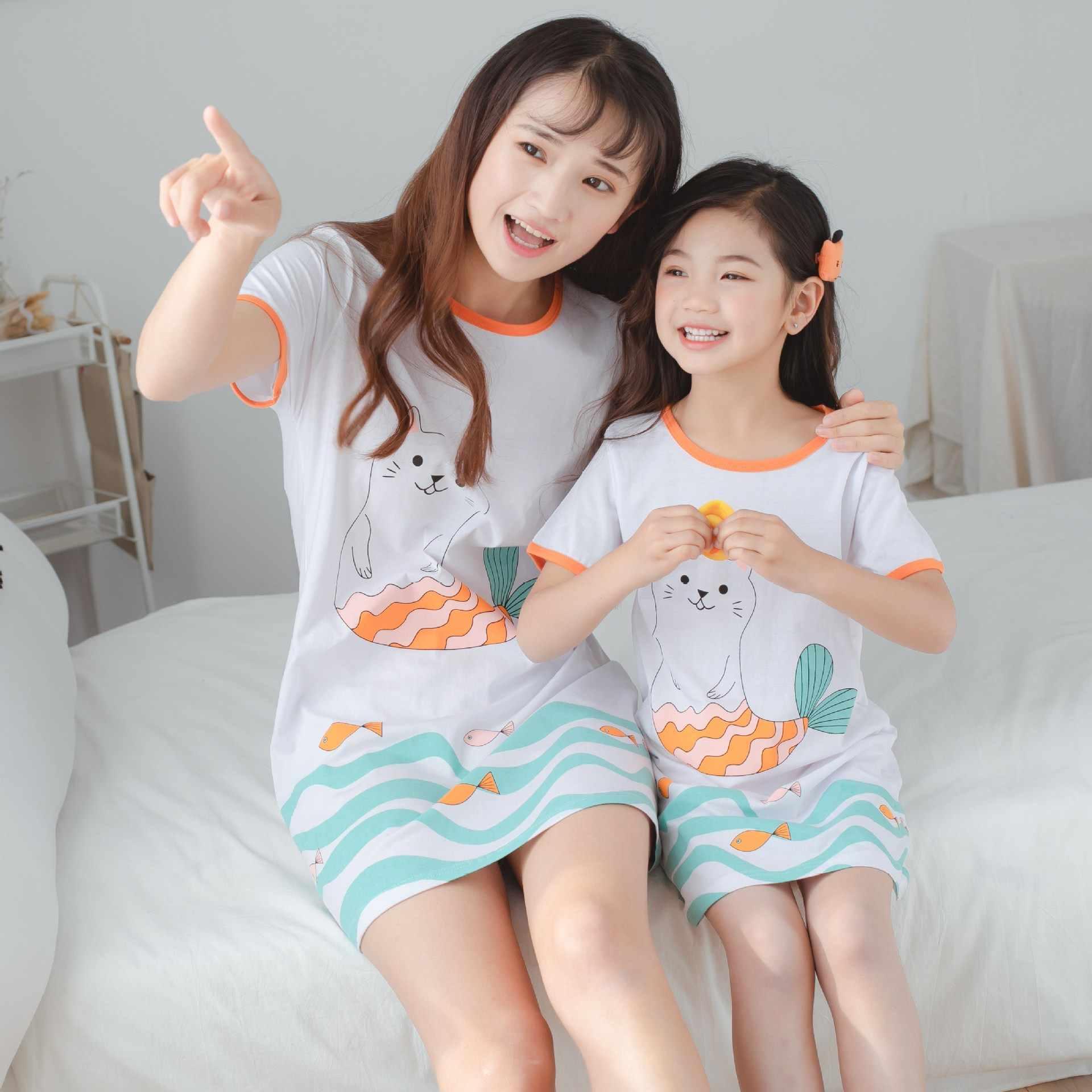 Mode Zomer Meisjes Nachtjapon Pyjama Kids Korte Mouwen Nachthemd Leuke 100% Katoen Kind Baby Slapen Jurk 8 10 12 14 jaar