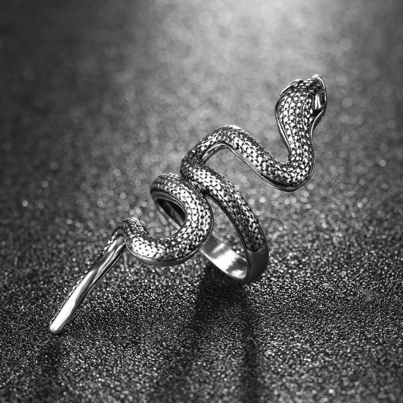 Fashion Punk Animal Ring Gothic Black Silver Metal Snake Rings For Men Women Unisex Rings Jewelry Drop Shipping