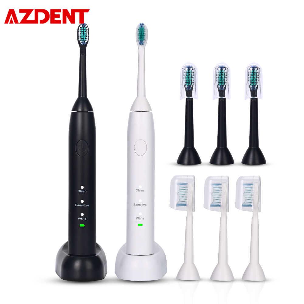 AZDENT Sonic elektryczna szczoteczka do zębów do ładowania 3 tryby przenośne elekryczna szczoteczka do zębów wybielanie zębów jamy ustnej dbanie o higienę narzędzie
