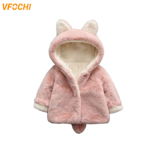 VFOCHI New Girl Winter Coat Thick Rabbit Hair Wool Coats Children Clothing Toddler Girls Clothes Outerwear Baby