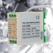 цена на JVR-380W 380VAC 3A Din rail Circuit Over Under Voltage Monitoring Relay Phase Failure Phase Sequence Protector Protection relay