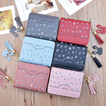 Hot Sale New Women Wallet Short Leather Zip Tassel Card Bag Korean Student Small Floral