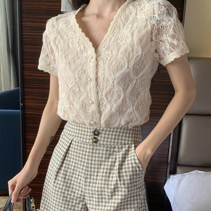 Summer Fashion Women Blouse Elegant Lace Short Sleeve Sexy V-Neck Tops Casual 2019