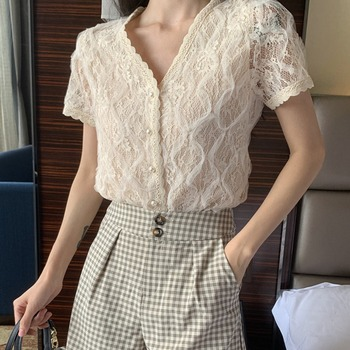 Summer Fashion Women Blouse Elegant Lace Short Sleeve Blouse Sexy V-Neck Tops Summer Women Casual Blouse Tops 2019