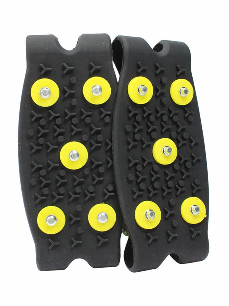 5-espigas antideslizantes para zapatos pinza de hielo de nieve escalada Anti deslizamiento pinchos empuñaduras Crampon Cleats zapatos de hielo garra Drifts