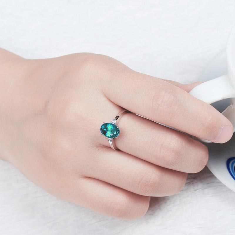 Bague Ringen srebrny pierścionek 925 z owalny niebieski kamień szafirowy dla kobiet pierścionek zaręczynowy srebrny woman party Gemstones Jewelry