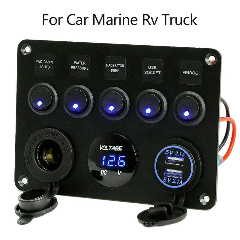5 Gang Auto Marine Boot LED Rocker Switch Panel Waterdicht Circuit Digitale Voltmeter Dual Usb-poort 12V Outlet voor auto Marine Rv