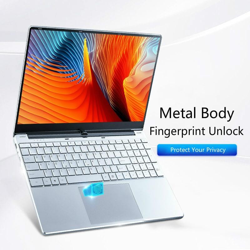Металлический ноутбук с разблокировкой по отпечатку пальца диагональю 15,6 дюйма, портативный компьютер для бизнеса и офиса, новый игровой н...