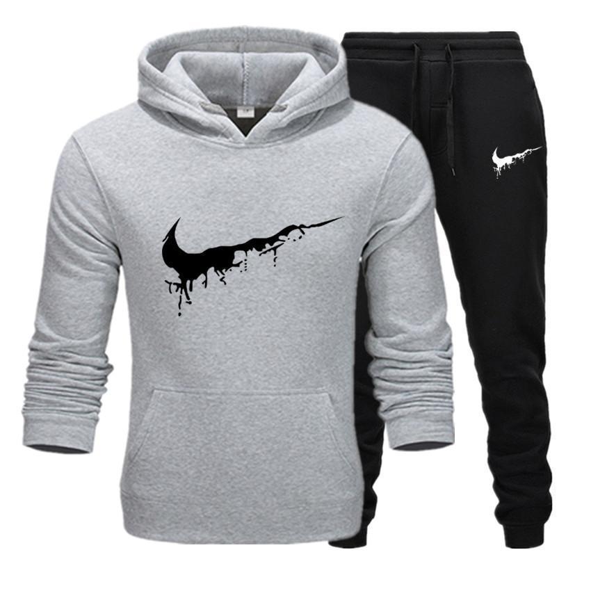 Tide Men Brand Sportswear Men Warm Sportswear Thick Wool Hooded Sweatshirt + Pants Sports Set Casual Sweatshirt Sports Set