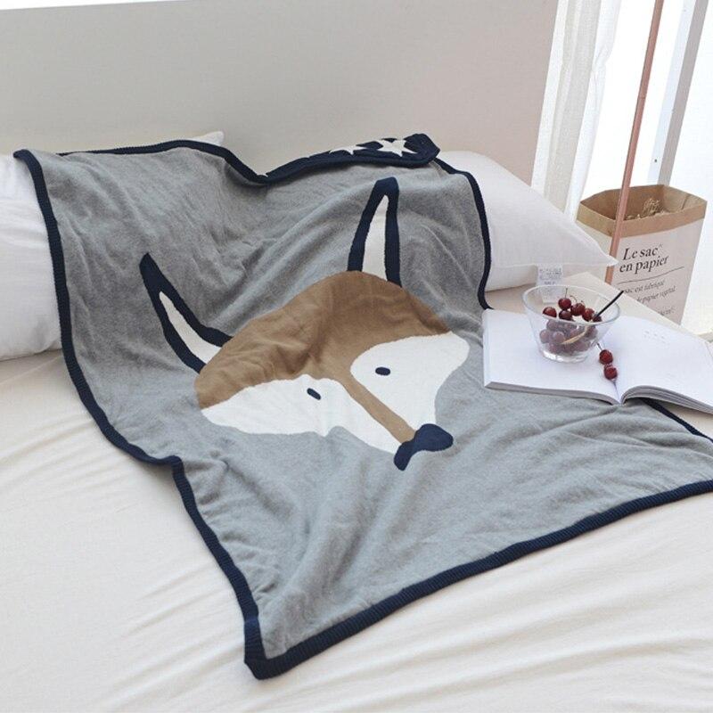 90*130 bébé Jacquard double couverture en tricot nouveau-né doux dessin animé renard ours couvertures pour lits hiver enfants coton literie couverture