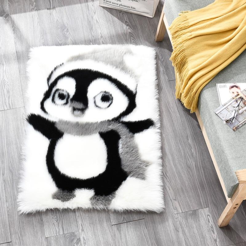 Cartoon Children's Room Rug Plush Panda Koala Penguin Decoration Mat Faux Fur Imitation Wool Modern Living Room Bedroom Carpet