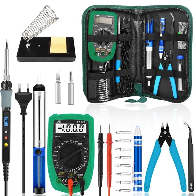 Handskit 110V 220V 60W zestaw żeliwa lutowniczego z multimetrem śrubokręt regulacja temperatury lutownica elektryczna narzędzia spawalnicze
