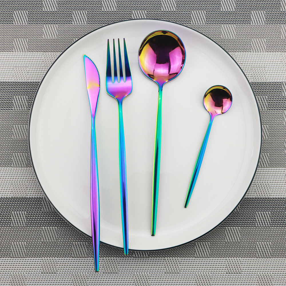 Image 4 - 4pcs Black Dinnerware Set 18/10 Stainless Steel Cutlery Rainbow Dinner Set Knife Fork Spoon Silverware Set Kitchen Tableware Set-in Dinnerware Sets from Home & Garden