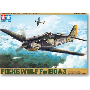 Tamiya 61037 1/48 German Luftwaffe Focke-Wulf Fw 190 A-3 Figther Aircraft Plane Display Toy Plastic Assembly Building Model Kit