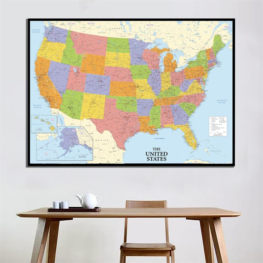A2 Size Fine Canvas HD Printed Unframed Map Of The United States Roll Packaged Wall Decor America Map For Home Office Decor